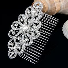 Silver Plated Rhinestone Crystal Flower Bridal Hair Comb Pin Wedding Party