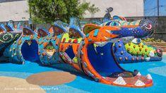 mosaic dragon in benito jauarez park