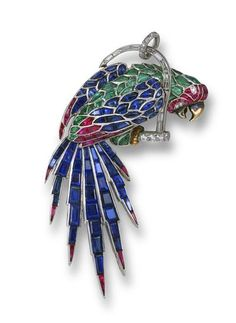 A FRENCH GEM-SET PLATINUM BROOCH. In the form of a macaw, embellished with calibré-cut buff-top sapphires, rubies and emeralds, perched on a baguette-cut diamond-set swing, French assay marks for platinum, 1935.