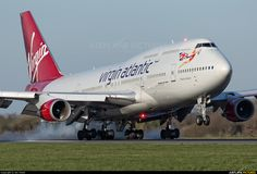 Virgin Atlantic Boeing 747-443 (registered G-VROY) touching down at Manchester