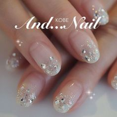 29 Trendy Wedding Nails Design Make Up Fancy Nails, Love Nails, Trendy Nails, White Nails, Pink Nails, Glitter Nails, Pink Glitter, Sparkle Nails, Jewel Nails