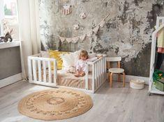 Toddler Floor Bed, Toddler Bed Frame, Kids Bed Frames, Diy Bed Frame, Teepee Kids, Nursery Crib, Bed Plans, Crib Mattress, Bed Sizes
