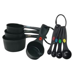 OXO Plastic Measuring Cups and Spoon set. Not necessarily this set, but replacement cups are due since we broke handles & mangled a couple small ones via garbage disposal. Kitchen Measuring Tools, Measuring Spoons, Kitchen Tools, Kitchen Ideas, Kitchen Supplies, Ring Storage, Thing 1, Baking Tools, Black Heart