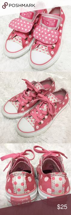 Girls Size 12 Polka Dot Converse Rare and in very good condition. They look nearly new with the exception of a few minor staining flaws, but barely noticeable at all. Girls size 12 pink and white polka dot Converse sneakers. Bundle & Save 15%!! Converse Shoes Sneakers