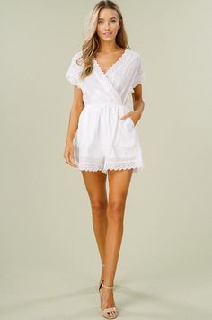 a013ec1c95 This lined white romper is the perfect style for Spring and Summer! V-neck