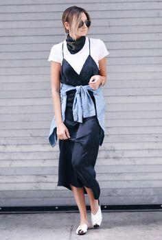 who what wear Outfit Vestidos, Trends 2016, Summer Trends, Estilo Blogger, Blogger Tips, How To Wear Scarves, Wearing Scarves, Frack, Silk Slip
