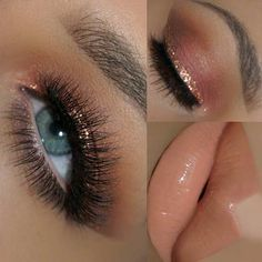 Rose Gold Eye Makeup Look for Blue Eyes
