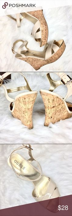 """Guess cork wedges Tan, patent leather Guess sandals with cork wedges. Heel is 5"""" and front platform is 1 1/2"""". There are some minor signs of wear on the back of the cork and a tiny knick on the strap but neither are easily seen. Great shoes that go with everything! Guess Shoes Wedges"""