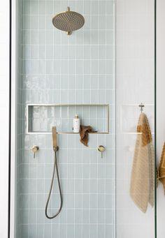 Vertical Stack Bond in the Shower | Centsational Style Bad Inspiration, Bathroom Inspiration, Interior Inspiration, Beautiful Bathrooms, Modern Bathroom, Minimalist Bathroom, White Bathrooms, Luxury Bathrooms, Master Bathrooms
