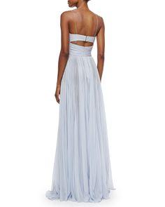 Sleeveless Cutout High-Slit Gown, Bleu Clair