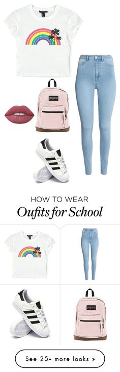 """#14"" by ferreiracaetanoe on Polyvore featuring Forever 21, adidas, JanSport and Lime Crime"