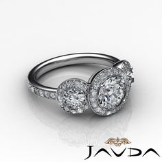 Round Diamond Gorgeous Three Stone Engagement Ring EGL F SI1 Platinum 950 1 85ct | eBay