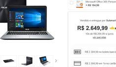 "Notebook Asus X555UB-BRA-XX299T Intel Core i5 8GB 1TB Tela LED 156""  Placa de Vídeo GeForce 940M 2GB << R$ 238499 >>"