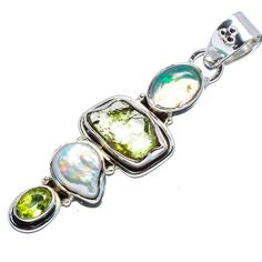 Ana Silver Co Rough Peridot, Natural Ethiopian Opal, Mother Of Pearl 925 Sterling Silver Pendant 2'