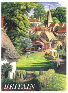 Gorgeously evocative travel poster for Britain - and its idyllic countryside, (artwork by S. [Stanley Roy] Badmin, an English painter and etcher particularly noted for his book illustrations and landscapes) 1950s Posters, Posters Uk, Railway Posters, Vintage Travel Posters, Gravure Illustration, British Travel, Tourism Poster, English Countryside, Vintage Images