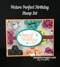 This is such a fast and easy card to make.  It was so fast I made 50 of them for a swap.  I used Picture Perfect stamp set, Picture Perfect Party designer series paper stack, Stitched Shapes Framelits and the Layering Oval Framelits all from Stampin' Up!  The sentiment on this handmade card is from the 2018 Occasions catalog.