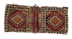 Persisch-Shiraz-Tasche Paar  zweite Hälfte des 20. JH, Senneh-Knote, beschädigt, 110*43 cm Persian-Shiraz-bag pair  second half of the 20th century, senneh-knot, damaged, 110*43 cm