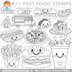 This item is unavailable Food Coloring Pages, Coloring Books, Doodle Baby, Teenage Girl Gifts, Fast Food, Food Stamps, Kawaii Art, Vinyl Crafts, Step By Step Drawing