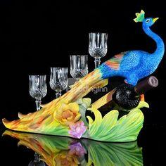#peacock wine bottle holder