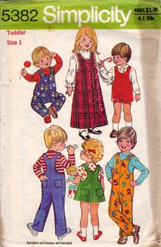 70s Vintage Toddlers sewing pattern Jumper by allthepreciousthings, $7.00