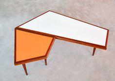 Mid Century Danish Modern Teak Coffee Table and Side End Table Set Geometric WOW | eBay