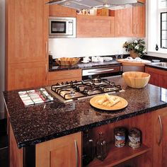 a HomeCrest Cabinetry kitchen island designed for cooking