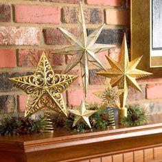 ideen sterne Weihnachtsdeko basteln deko kamin                                                                                                                                                                                 Mehr
