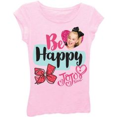 Jojo Siwa Girls' 'Be Happy' Short Puff Sleeve Graphic T-Shirt With Magenta Glitter, Size: M (8/10), Pink