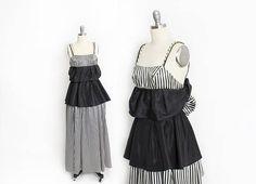 Vintage GUNNE SAX Dress  1980s Black & White Stripe full