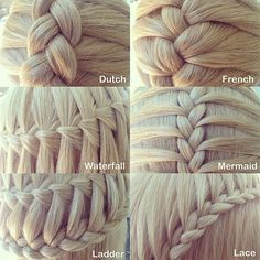 Six different types of three strand braids. So cute! :) and proud that I can do all of them