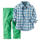 In a convenient 2-piece set, this 100% cotton outfit features bright colors and button-front styling to keep him handsome on school days.<br>
