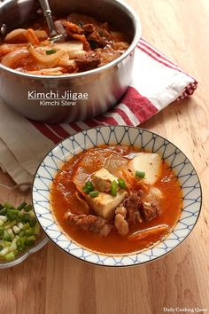 Here is my very first post on a Korean dish, kimchi jjigae, a.a kimchi stew. This stew is just amazingly good, especially in cold weather. If you love hot,… Easy Korean Recipes, Chinese Soup Recipes, Spicy Recipes, Asian Recipes, Gourmet Recipes, Ethnic Recipes, Pork Recipes, Boneless Pork Ribs, Kefir Recipes