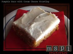 MSPI Mama: Pumpkin Bars with Cream Cheese Frosting