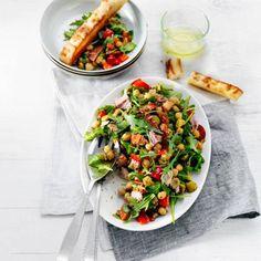 Boodschappen - Kikkererwtensalade met chorizo en tonijn