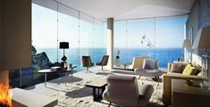 Living room with expansive view of the ocean in Cabo San Lucas, Mexico [1200 x 612].