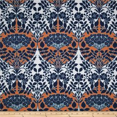 Joel Dewberry Botanique Leafy Damask Apricot from @fabricdotcom  Designed by Joel Dewberry for Free Spirit, this cotton print fabric is perfect for quilting, apparel and home decor accents. Colors include apricot, deep blue, light blue and white.