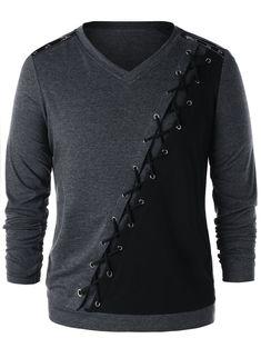 Color Block Criss Cross Zipper Shoulder Long Sleeve Men T-shirt 8220 Short Boxe, Cool Outfits For Men, Criss Cross, Grey Long Sleeve Shirt, Kurta Designs, Mens Sweatshirts, Men Dress, Shirt Designs, T Shirt