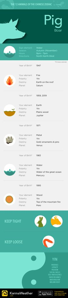 Pig - Boar — Infography and Chinese horoscope for your sign #KarmaWeather - Chinese compatibility app for iPhone