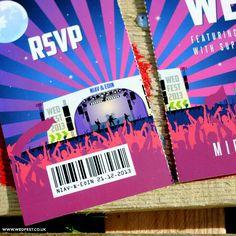 ticket stub festival wedding invites