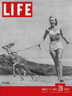 Life Magazine cover, August 23, 1948, woman with a pet deer.