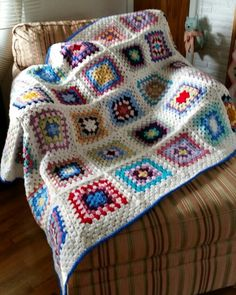 Camille's Granny Square crochet blanket, Red Heart Super Saver yarn.
