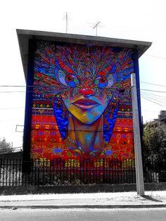 """Artist Charquipunk large scale Street Art wall located in San Miguel Santiago Chile Best Street Art, Amazing Street Art, Street Art Utopia, Street Art Graffiti, Inspiration Art, Arte Popular, Art Mural, Outdoor Art, Chalk Art"