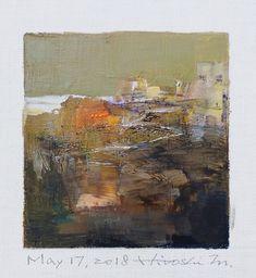 "May 17, 2018 9 cm x 9 cm (app. 4"" x 4"") oil on canvas © 2018 Hiroshi Matsumoto www.hiroshimatsumoto.com"