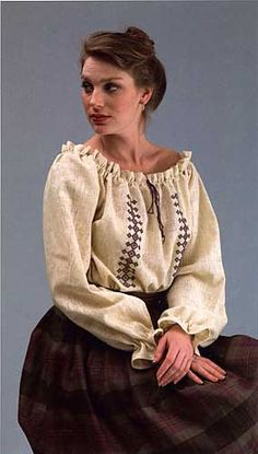 #103 Roumanian Blouse One size fits Misses 6-16. $16.95  Add your own character to this classic European peasant blouse with traditional handwork techniques or modern embellishments. A great period look when worn under a fitted vest or jacket. Instructions for embroidery, smocking, crocheted edging, and fine hand sewing are included.
