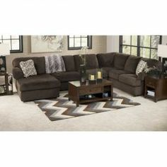 RAF Chaise Sectional by Signature Design by Ashley. Get your Jessa Place - Chocolate 3 Pc. RAF Chaise Sectional at House to Home, Okemos MI furniture store. Brown Sectional, Sectional Sofa With Chaise, Living Room Sectional, Sofa Set, Fabric Sectional, Ashley Sectional, Sofa Sleeper, Sofa Cushions, Home Furniture
