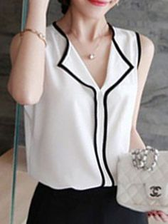 Spring Summer Polyester Women V-Neck Patchwork Plain Sleeveless Blouses Classy Outfits, Chic Outfits, Beautiful Outfits, Fashion Outfits, Womens Fashion, Black And White Blouse, Simple Shirts, Blouse Styles, Grunge Fashion