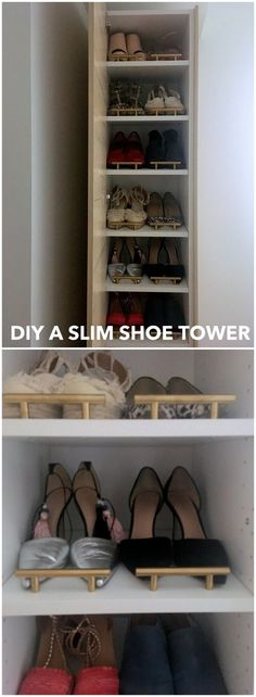 A classy tall shoe cabinet to fit small entryways http://www.ikeahackers.net/2017/06/shoe-cabinet-tall-small-entryway.html