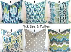 Pillow MIX & MATCH Any Size- Pattern Turquoise Decorative Pillows TEAL Navy Blue Euro Shams 24x24 26x26 Throw Pillow Covers  Lime Green