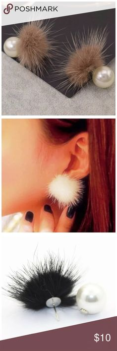 DF1 Brown Doubled Sided Faux Fur Pearl Earrings ‼️PRICE FIRM‼️     Double Sided Earrings  SUPER FUN PAIR OF EARRINGS.  Faux pearls & faux fur.  Love these!  Also available in other colors. Please check my closet for many more items including scarves, shoes, designer clothing, handbags & much more Jewelry Earrings
