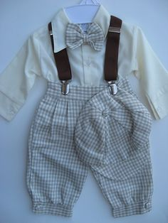 Close-Out Checked Infant Boys Linen Knicker Set - 6 mo